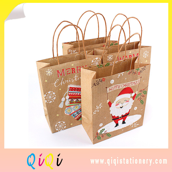 ECO friendly recycled kraft paper gift bag with handle gift bags for Christmas