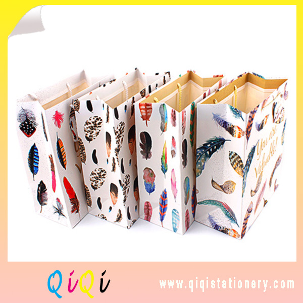 Luxury paper gift bags  feather style recycled  paper bag