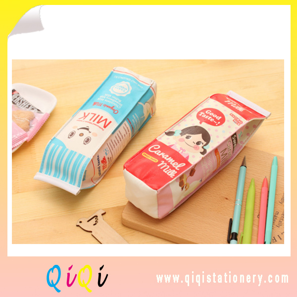 creative stationery milk style PU pencil bag