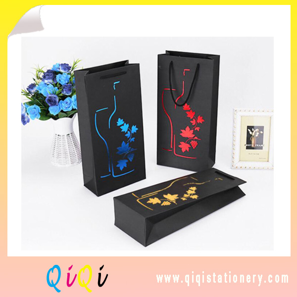 Cheap Custom Design Printed Luxury Bottle Gift Packaging Wine Paper Bag