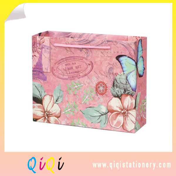 Customize printing Pink butterfly paper package bag gift bag