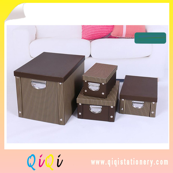 Table sorting box paper foldable storage box with metal handle