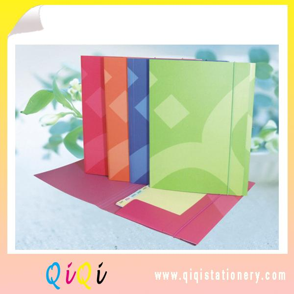 elastic band printed paper three flap file folder