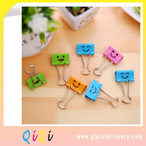 Smile style long color binder clip 19mm office stationery