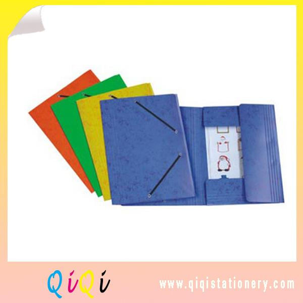 three flap paper file folder with elastic closure