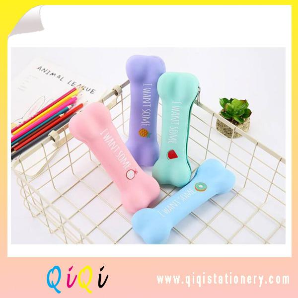 Candy color Bone silicone pencil bag korea stationery pencil box
